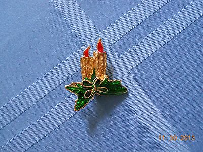 Vintage Holiday Candles with Holly Leaves Pin/Brooch