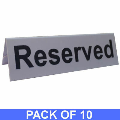 10 x Reserved Table Sign Plastic Restaurant / Pub / Bars Tabletop Dining Pack