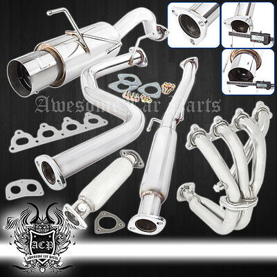 "96-00 CIVIC EK/EK9 HATCH BACK JDM CATBACK EXHAUST 4.5"" MUFFLER+ HEADER+ CAT PIPE"