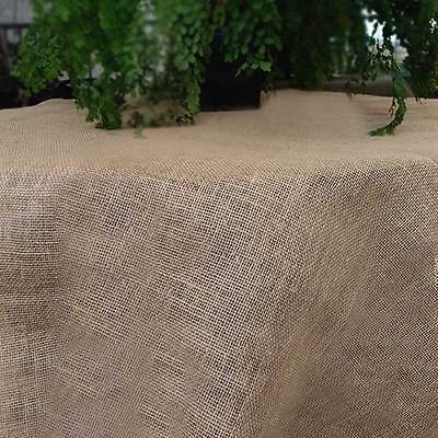 Square Rustic Burlap Tablecloth Table Cover, Fringed Edge, 54 inch