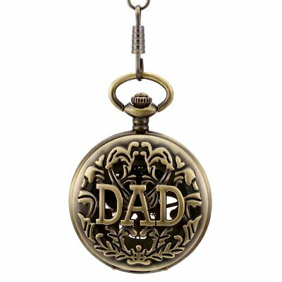 Antique Bronze Tone DAD Hand-Winding Mechanical Pocket Watch Father's Xmas Gift