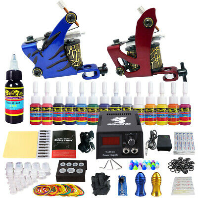 Solong Tattoo Kit 2 Tattoo Machine Guns Set 14 Ink Power Supply Needle TK210