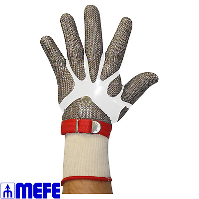 Stainless Steel Chain Mesh Glove - Full Hand, Material Wrist Strap (CAT 127M*)