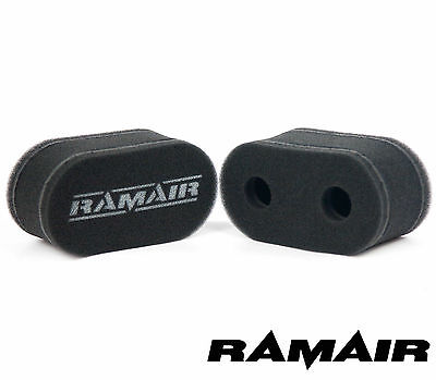 2 x RAMAIR Carb Sock Air Filters Double Trumpet Weber DCOE Dellorto DHLA
