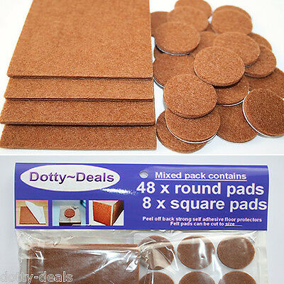 Oak Wood Protection Laminate Floor Furniture Round Protectors Felt Pads x 56