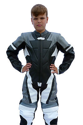 Kids Childrens Motorcycle Mini Moto One Piece Full Leather Race Track Suit - T