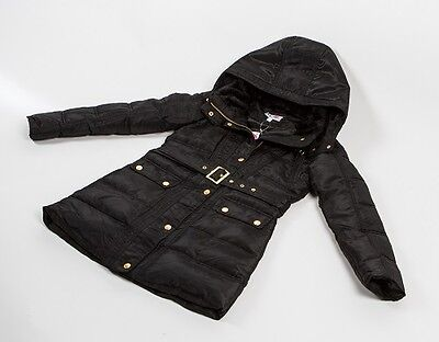 NEW Girls Black Parka Jacket School Coat Parker Gold Belt Age 7 8 9 10 11 12 13