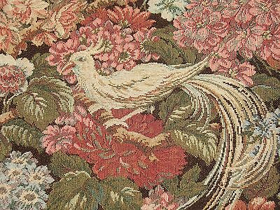 VTG EXOTIC RARE BIRD of PARADISE FOWL ROSE FLORAL HEAVY TAPESTRY FABRIC Pillow