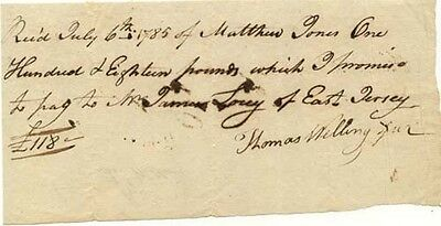 1st Prez Bank of US Thomas Willing signed receipt 1785 for 18 pounds from NJ man