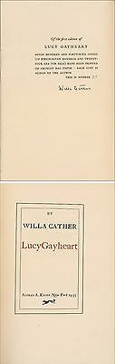 Willa Cather signed book Lucy Gayheart limited edition 27 of 749 Alfred Knopf