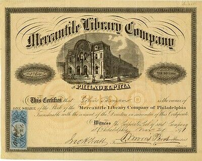 Thomas Morris Perot signed Philly Mercantile Library Company stock certificate