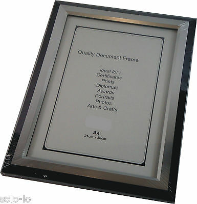 6 x Picture Photo A4 Frame Frames Black/Silver (p2) Certificate Documents bulk