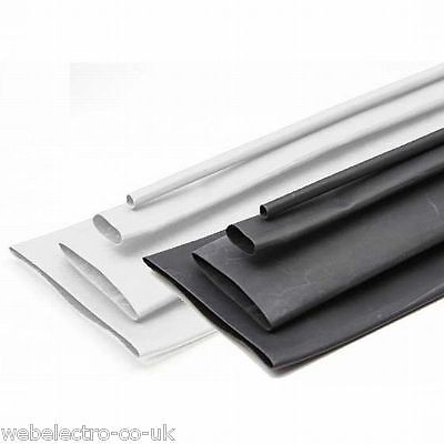 11092 Large Sizes Black / White Heatshrink Heat Shrink Tubing 1M Tube Sleeving