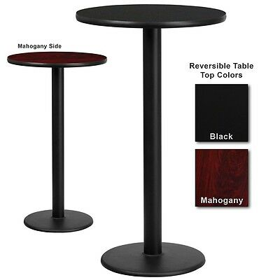 """24"""" Round Bar Height Restaurant Table with Black or Mahogany Laminate Top"""