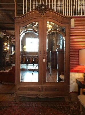 Large Antique Carved Armoire with Bevelled Mirror Panels #7712
