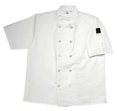 CHEF REVIVAL J105-M Crew Jacket, Unisex, White, Short Sleeve, M