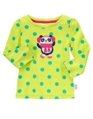 Gymboree Color Happy Lime Panda N Polka Dots L/s Tee 6 12 18 24 2T 3T 5T Nwt