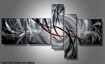 Red And Grey Pointers Abstract Oil Painting On Canvas   Perfect Gift   Framed