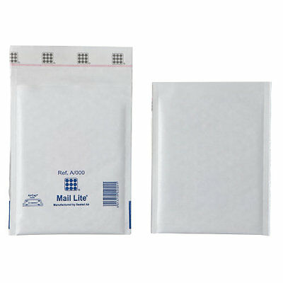 Mail Lite White Padded Mailing Postal Bags A/000 110MM X 160MM-Envelope - Bx 100