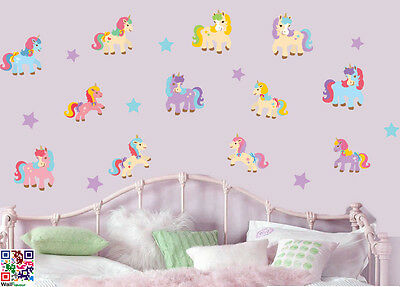 Unicorns and Stars - Pack of 20 - Wall Art Vinyl Stickers Horses Pony Decals