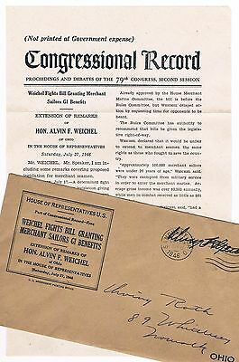 Congressional Record Government Notification to WW2 Soldier 1946