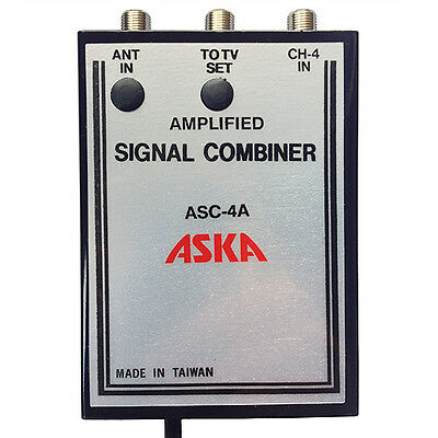 Channel 4 Signal Combiner Amplified 15 dB Video Modulator ASC-4A, CH-4 Adj Gain