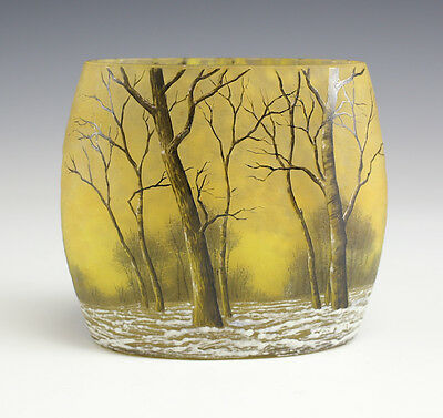 Daum Nancy France Etched & Enamel Cameo Glass Vase in Ovoid Form. Winter Forest