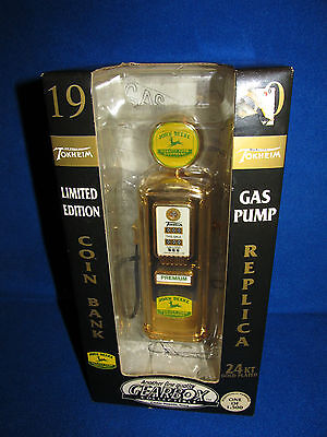 John Deere 24kt Gold Plated Gas Pump Coin Bank Limited Edition 1 of 1500 Gearbox