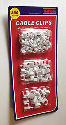 Round White Cable Clips With Nails 6 8Mm 10Mm Sky Satellite Coax Aerial Coaxial