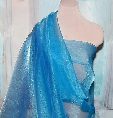 """SPARKLE ORGANZA FABRIC SHEER JADE GREEN 45/"""" BTY FORMAL  PAGEANT DRESS"""