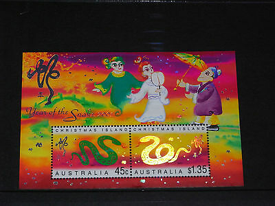 Christmas Island 2001 Year Of The Snake Minature Sheet Very Fine  M/n/h