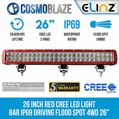 Cosmoblaze 26 inch Red CREE LED Light Bar IP69 Driving Flood Spot Combo 4x4 26""