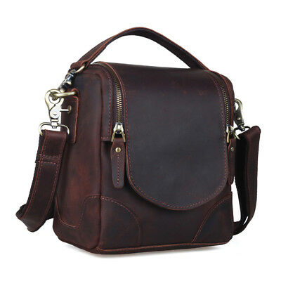 Unisex Leather DSLR Camera Bag for Canon Nikon Shoulder Bag Small Crossbody Case