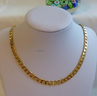 24K gold plated/filled men curb chain necklace 60cm(24inches), 6mm
