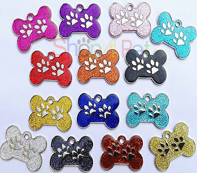 Pet ID Tag EXTRA LARGE 45mm Reflective Glitter Dog Bone Tags, ENGRAVED OPTIONS