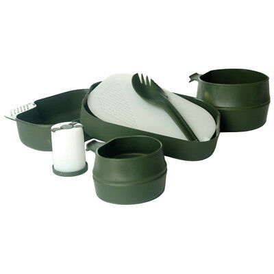 Wildo Camp-A-Box Hiking Travel Bushcraft Camping Plate Spork 2 Fold-A-Cups Olive