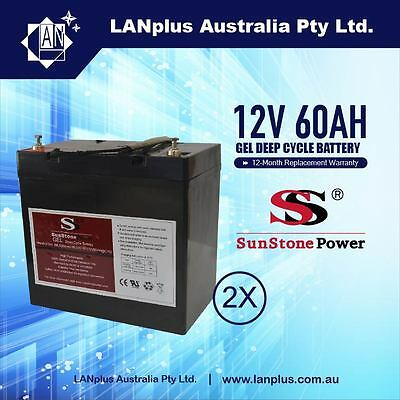 2x 12V 60AH Gel Deep Cycle Rechargeable Battery 4 Solar UPS Caravan > 50AH 55Ah