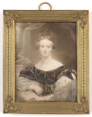 """James Holmes (1777-1860)""""Portrait of Mrs. Bardeley"""",high quality large miniature"""