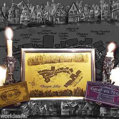 DIAGON ALLEY MAP +Knight Bus, Hogwarts Express tickets, great Christmas present!