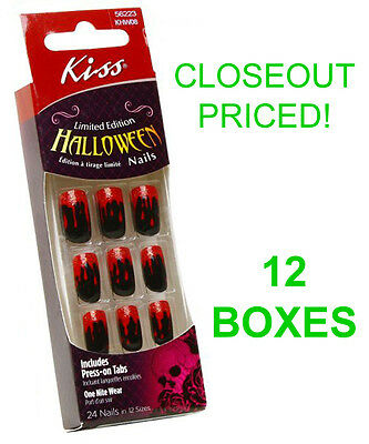 Closeout! 12 New Boxes Kiss Halloween Nails,black And Blood Costume Nail,khw08