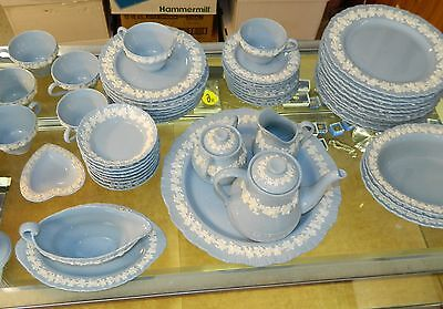 Wedgwood China Set, Embossed Queen's Ware Blue and White