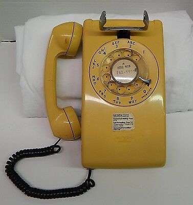 Vintage Retro Bell System Made By Western Electric Yellow Wall Phone 554 BMP