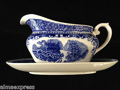Cambridge Old England Blue Transferware ROYAL SPHINX Maastricht Gravy Boat Plate