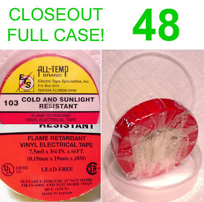 CLOSEOUT FULL CASE! 48 NEW ROLLS ALL TEMP VINYL ELECTRICAL TAPE,7.5m RED