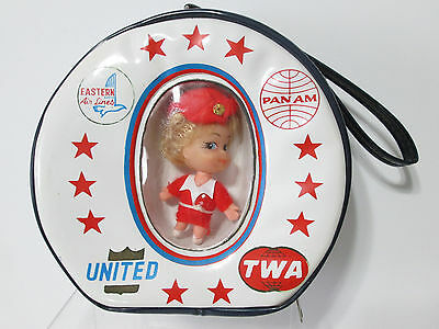 Red Miss Ellen Airline Doll Purse Handbag Case TWA United Pan Am Stewardess