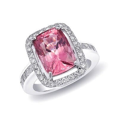 PINK SPINEL GEM 6.77cts and DIAMOND RING 14KWG JEWELRY