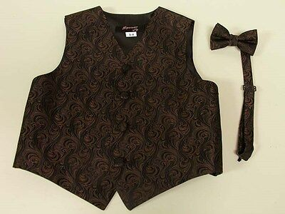 Vest Boys Chocolate Brown Imperial Full Back Bow Tie  Ring Bearer Wedding Party