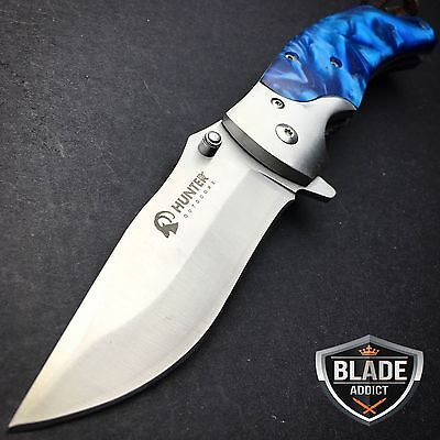 "8"" HUNTING Gentleman BLUE SPRING ASSISTED OPEN TACTICAL Folding POCKET KNIFE"