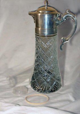 Antique Silver Italy Glass Water Wine Claret  Pitcher w/ Ice Insert Acorn Finial