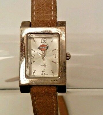 Womens Dickies Watch Suede Strap Rectangular fashion New Battery analog